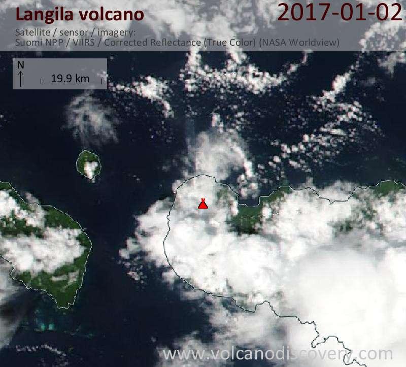 Satellite image of Langila volcano on  2 Jan 2017