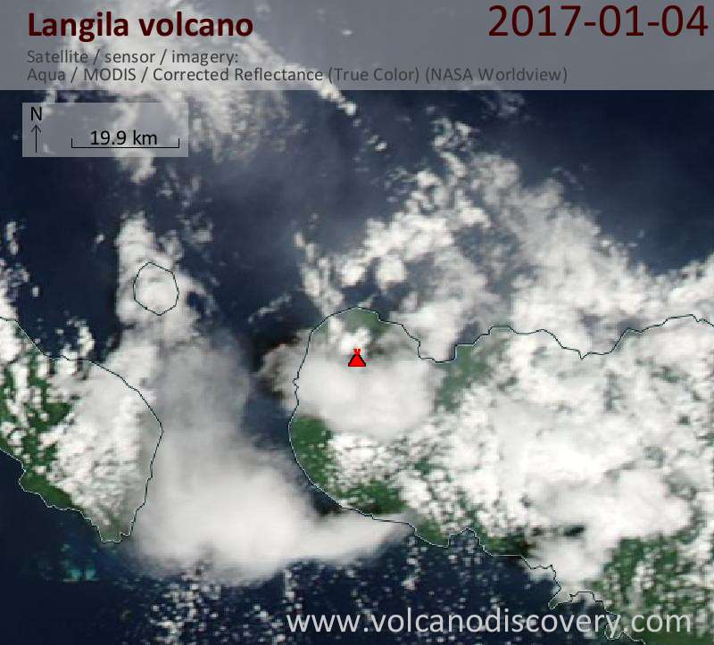 Satellite image of Langila volcano on  5 Jan 2017