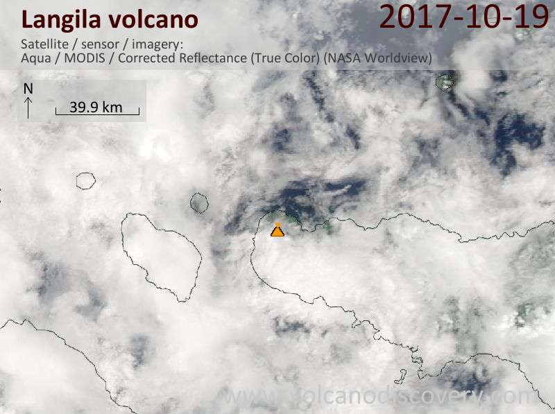 Satellite image of Langila volcano on 19 Oct 2017