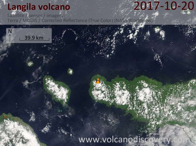 Satellite image of Langila volcano on 20 Oct 2017