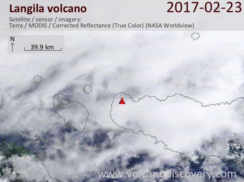 Satellite image of Langila volcano on 23 Feb 2017