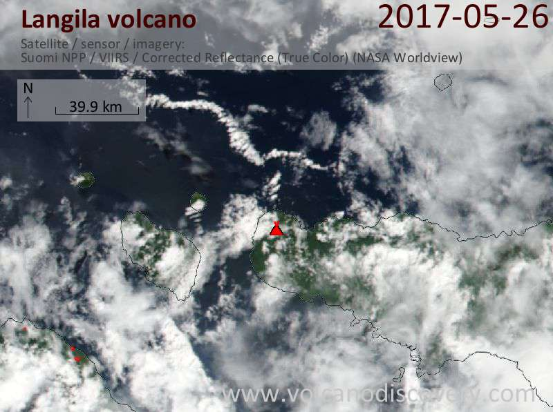 Satellite image of Langila volcano on 26 May 2017