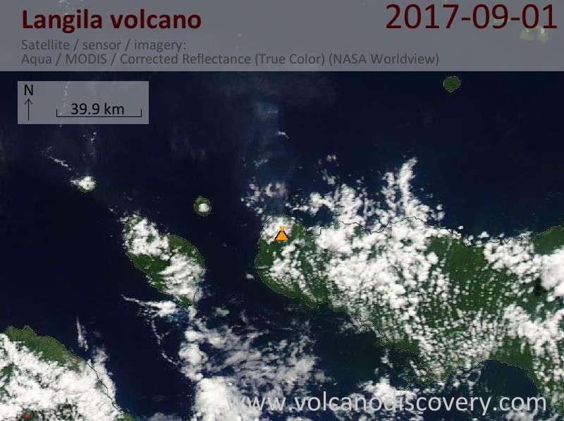 Satellite image of Langila volcano on  1 Sep 2017