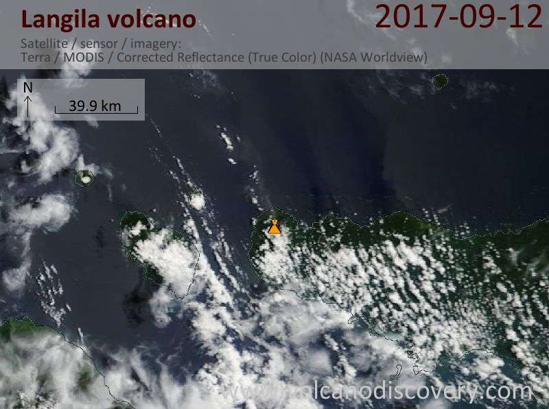 Satellite image of Langila volcano on 12 Sep 2017
