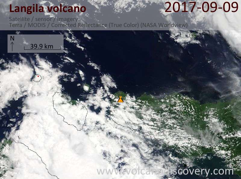 Satellite image of Langila volcano on  9 Sep 2017