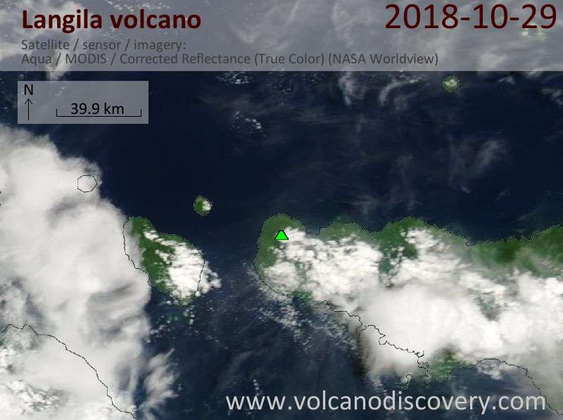 Satellite image of Langila volcano on 29 Oct 2018