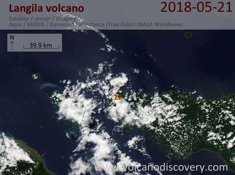 Satellite image of Langila volcano on 21 May 2018
