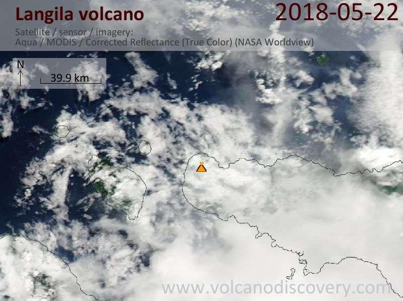 Satellite image of Langila volcano on 22 May 2018