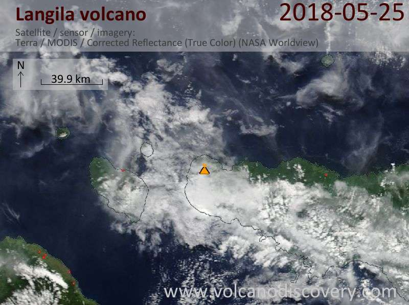 Satellite image of Langila volcano on 25 May 2018
