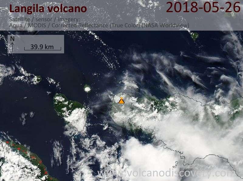 Satellite image of Langila volcano on 26 May 2018