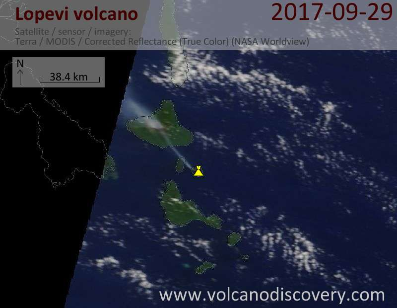 Satellite image of Lopevi volcano on 29 Sep 2017