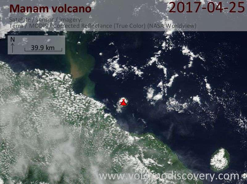 Satellite image of Manam volcano on 26 Apr 2017