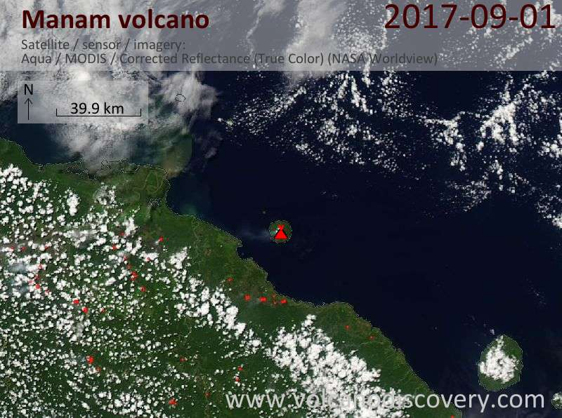 Satellite image of Manam volcano on  1 Sep 2017