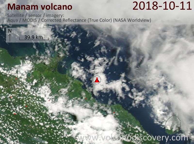 Satellite image of Manam volcano on 11 Oct 2018