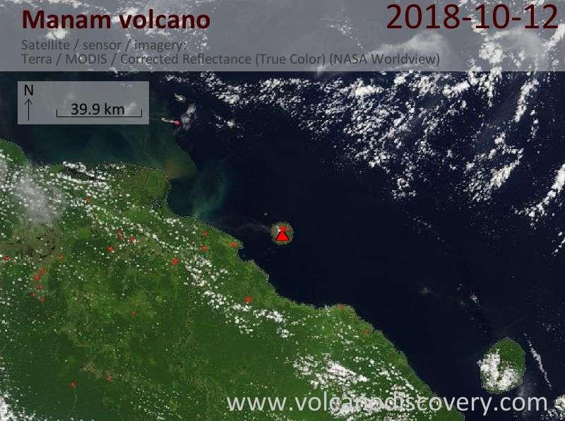 Satellite image of Manam volcano on 12 Oct 2018