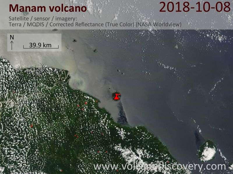Satellite image of Manam volcano on  8 Oct 2018