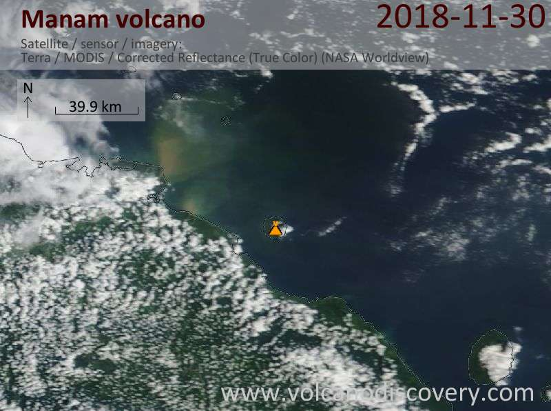 Satellite image of Manam volcano on 30 Nov 2018