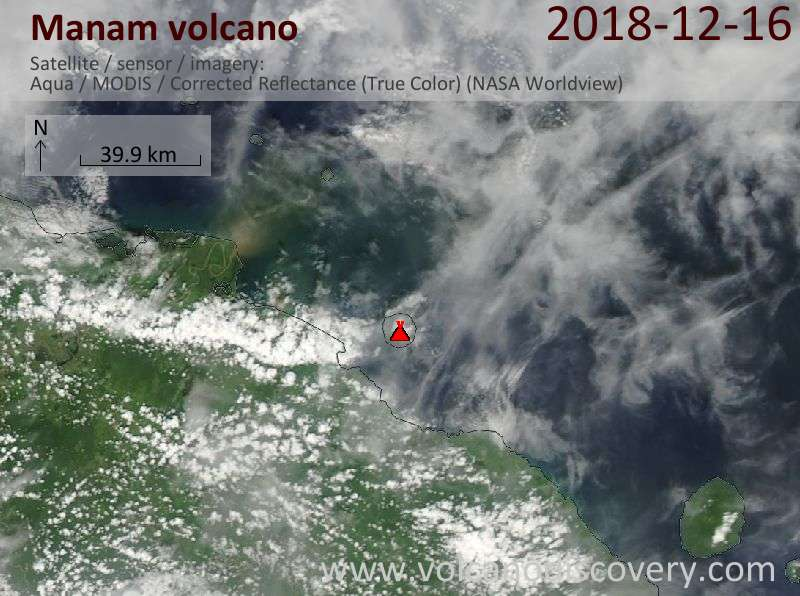 Satellite image of Manam volcano on 16 Dec 2018