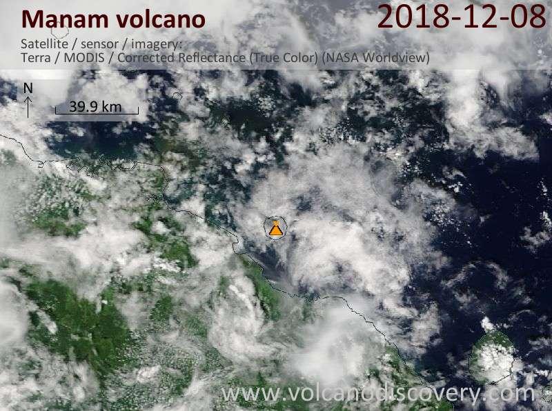 Satellite image of Manam volcano on  8 Dec 2018
