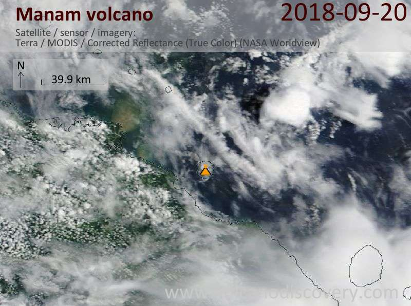 Satellite image of Manam volcano on 20 Sep 2018