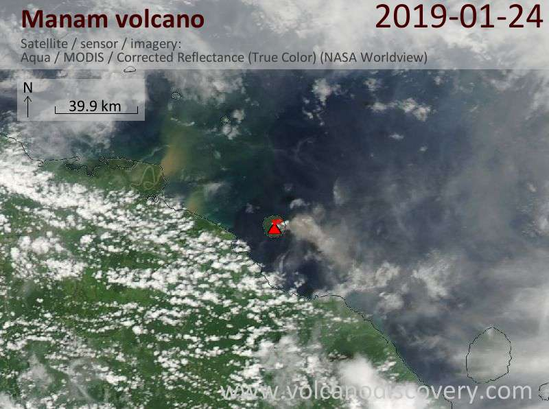 Satellite image of Manam volcano on 24 Jan 2019