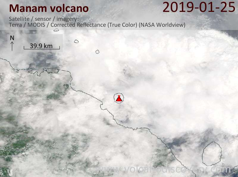 Satellite image of Manam volcano on 25 Jan 2019