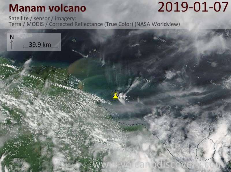 Satellite image of Manam volcano on  7 Jan 2019