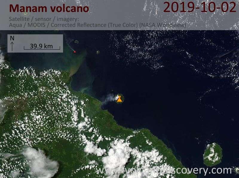 Satellite image of Manam volcano on  2 Oct 2019
