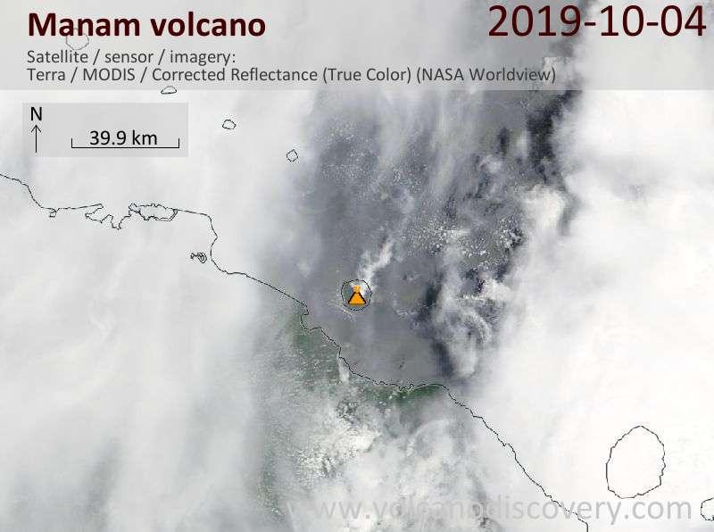 Satellite image of Manam volcano on  4 Oct 2019