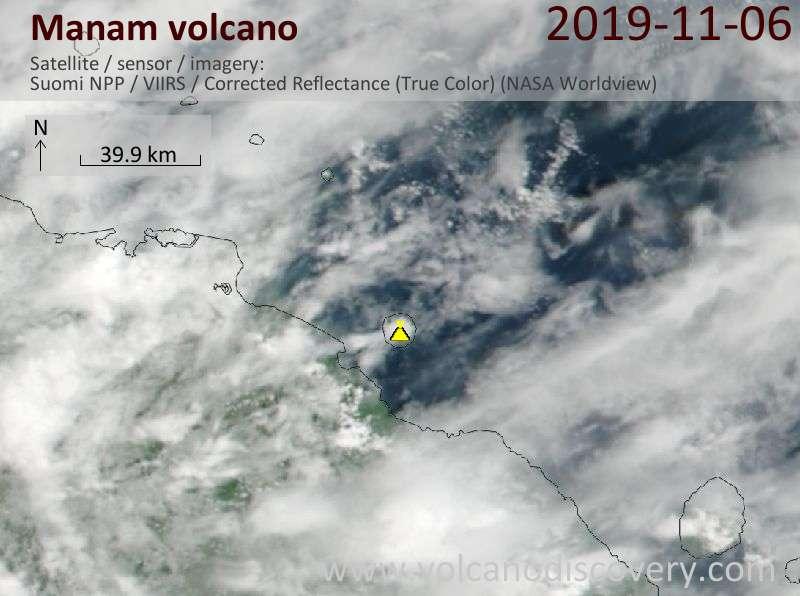 Satellite image of Manam volcano on  6 Nov 2019