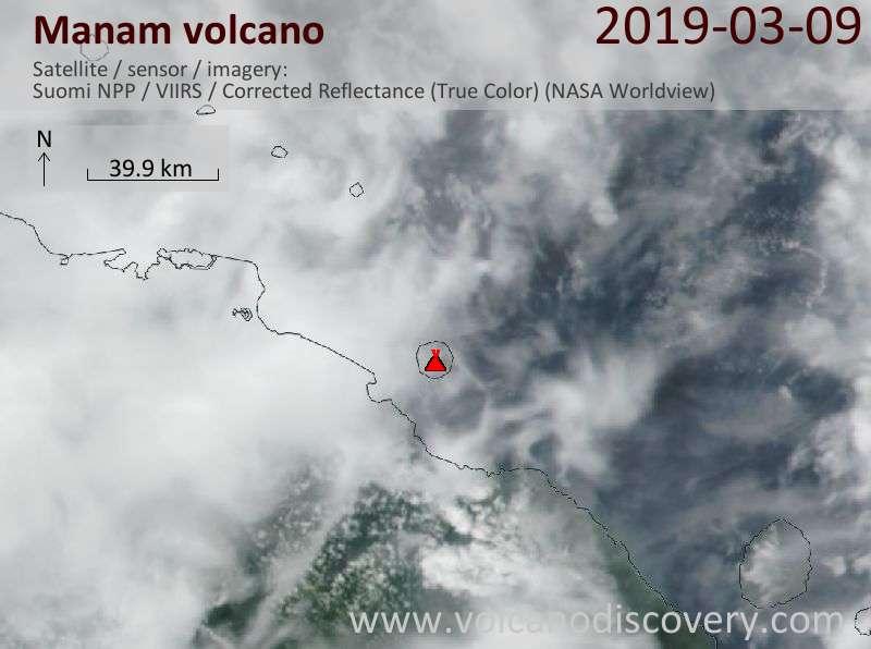 Satellite image of Manam volcano on  9 Mar 2019