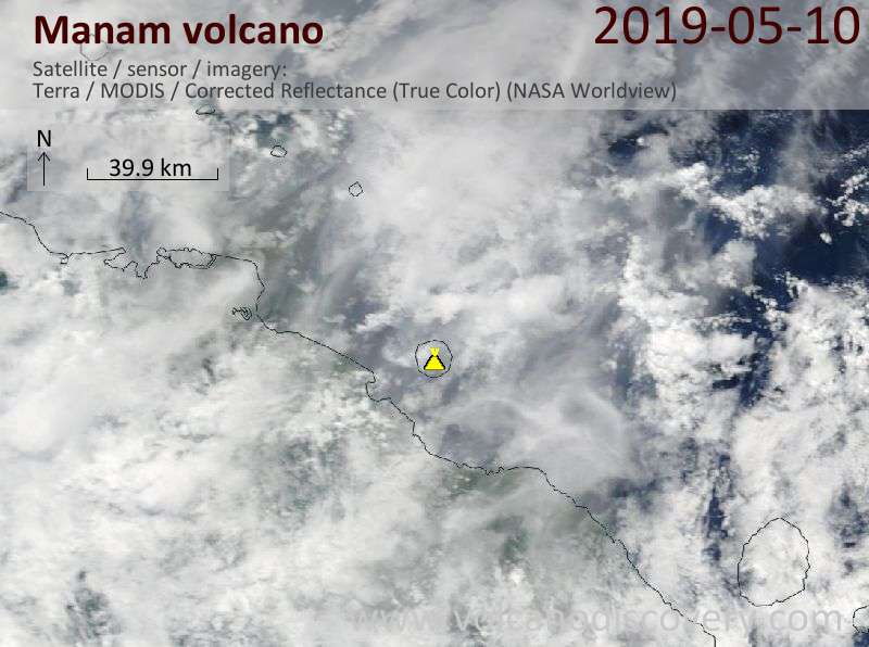 Satellite image of Manam volcano on 10 May 2019