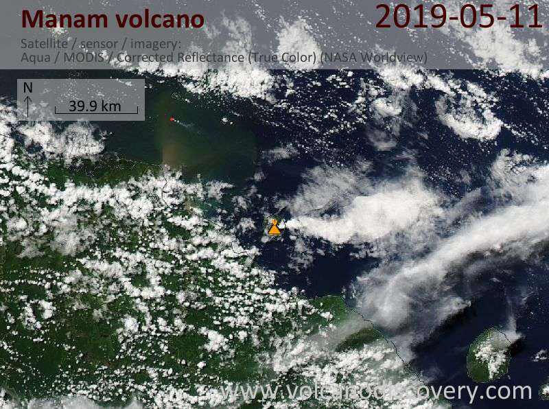 Satellite image of Manam volcano on 11 May 2019