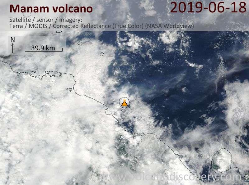 Satellite image of Manam volcano on 18 Jun 2019