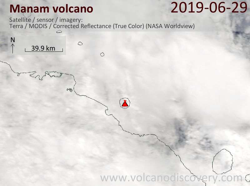 Satellite image of Manam volcano on 29 Jun 2019