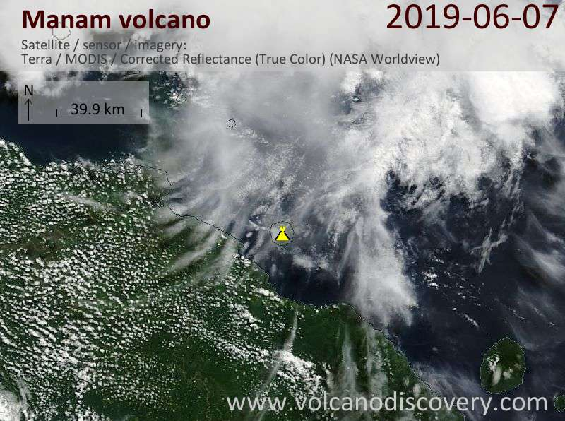 Satellite image of Manam volcano on  7 Jun 2019