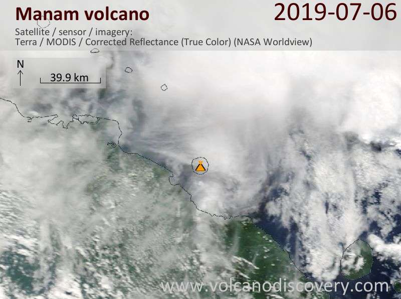 Satellite image of Manam volcano on  6 Jul 2019