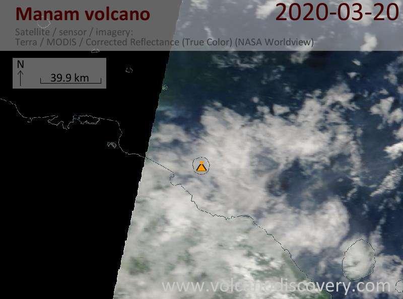 Satellite image of Manam volcano on 20 Mar 2020