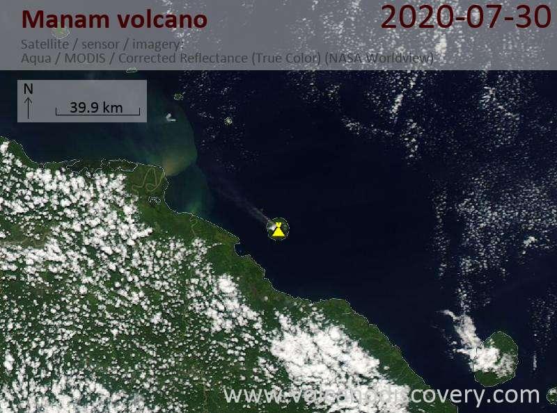 Satellite image of Manam volcano on 30 Jul 2020
