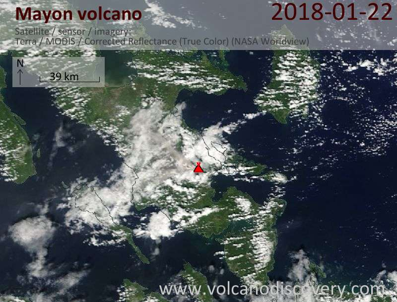 Satellite image of Mayon volcano on 22 Jan 2018