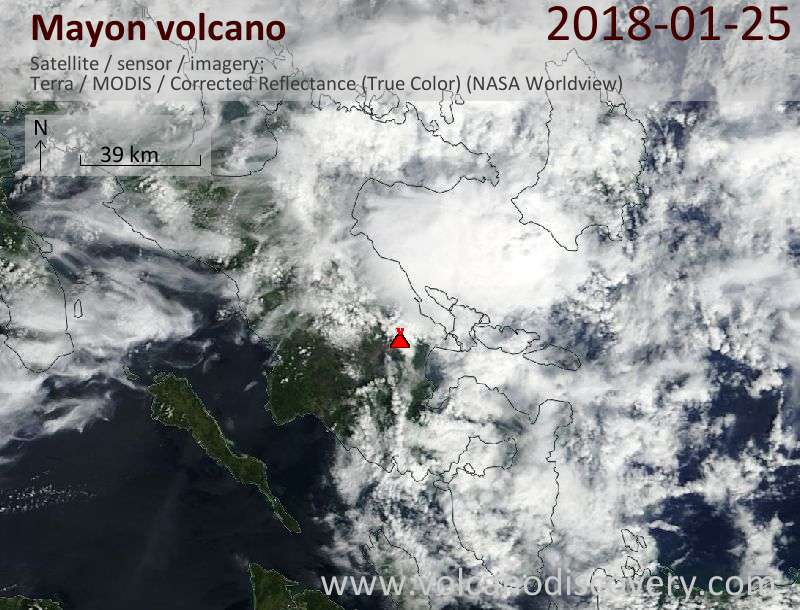 Satellite image of Mayon volcano on 25 Jan 2018