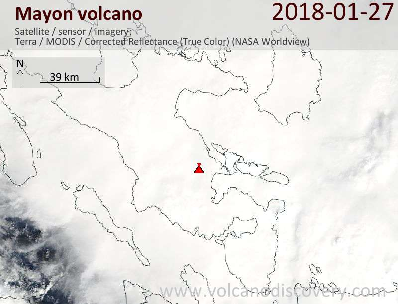 Satellite image of Mayon volcano on 27 Jan 2018
