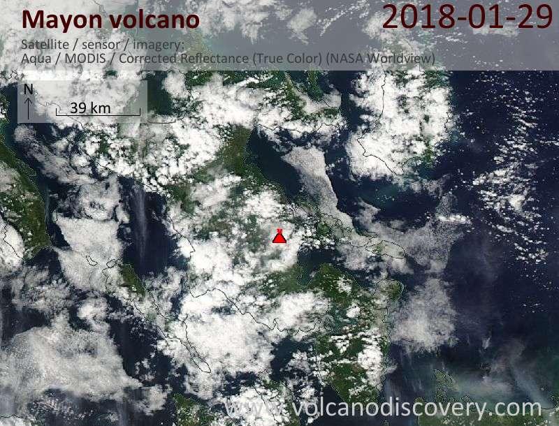 Satellite image of Mayon volcano on 29 Jan 2018