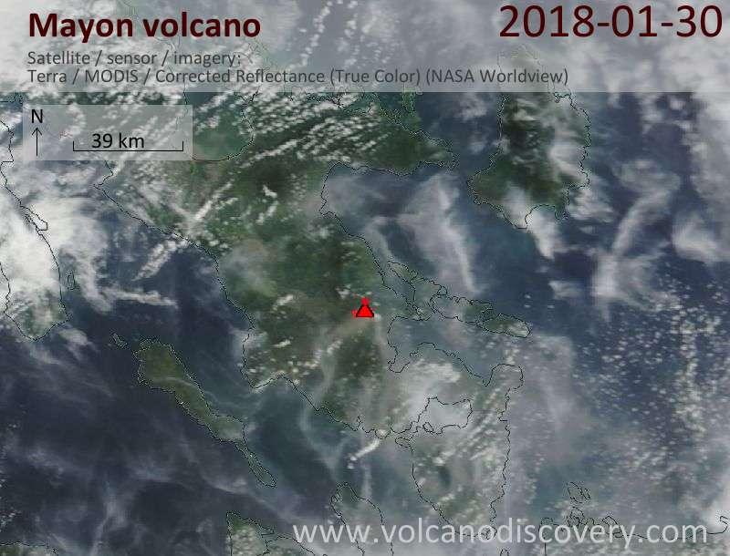 Satellite image of Mayon volcano on 30 Jan 2018