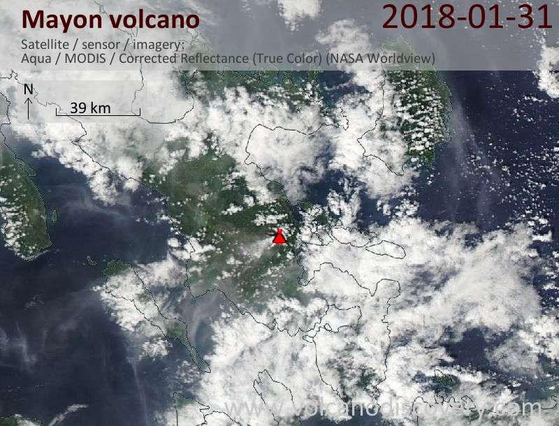 Satellite image of Mayon volcano on 31 Jan 2018