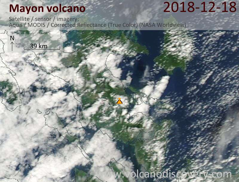 Satellite image of Mayon volcano on 18 Dec 2018