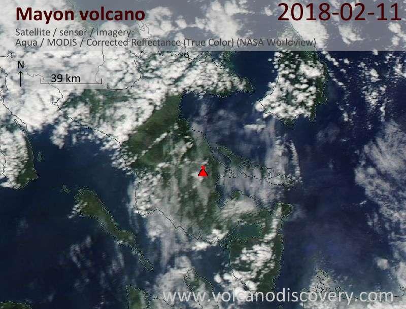 Satellite image of Mayon volcano on 11 Feb 2018