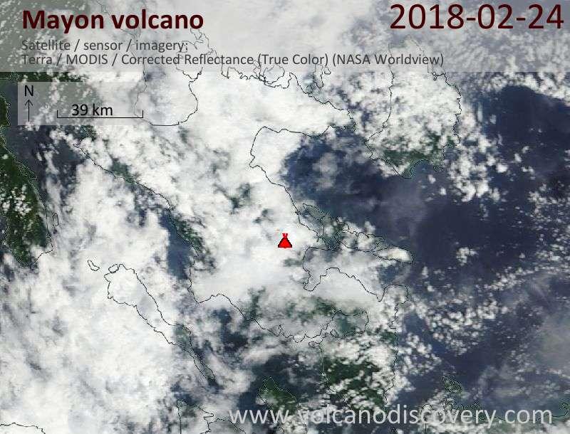 Satellite image of Mayon volcano on 24 Feb 2018