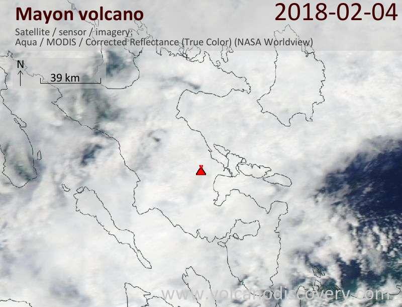 Satellite image of Mayon volcano on  4 Feb 2018