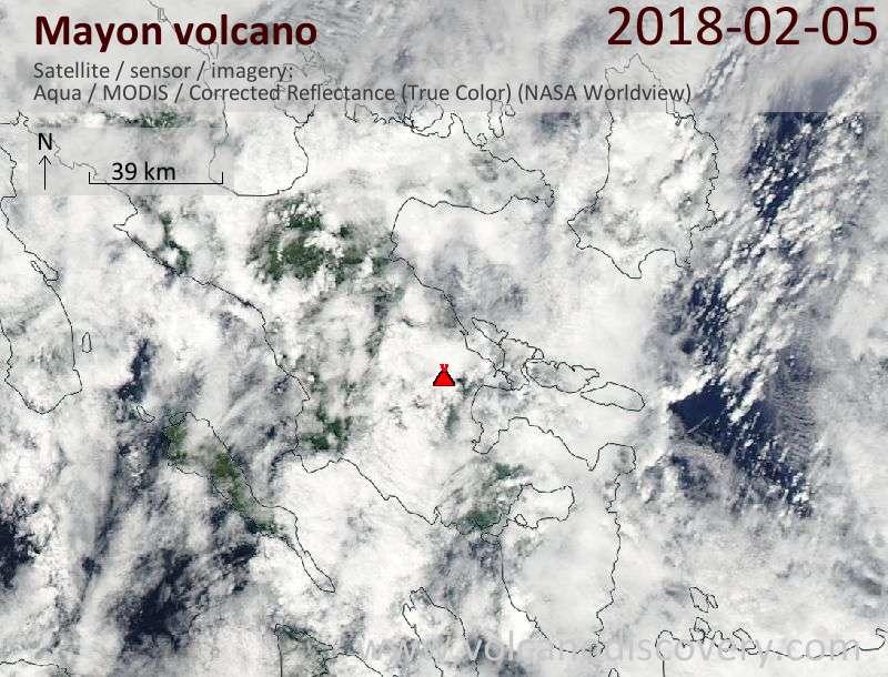 Satellite image of Mayon volcano on  5 Feb 2018